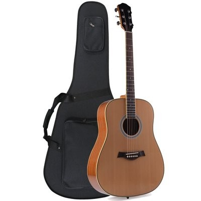 41 inch Full Size Premium Dreadnought Acoustic Electric Guitar with Foamed Case, Solid Spruce Top