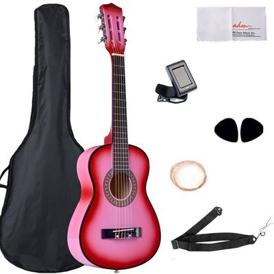 Beginner Classical Guitar 30 Inch Buddle with Carrying Bag & Accessories, Pink