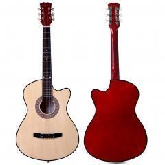 ADM 38 Inch Acoustic Guitar Cutaway 6 Steel Strings for Beginner, Natural Gloss