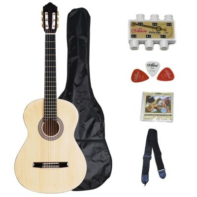 39 Inch Student Classical Guitar Package- Natural Matte