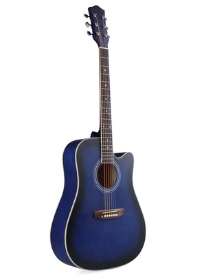 41 Inch Full Size Blue Dreadnought Cutaway Acoustic Guitar,