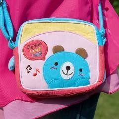 [Blue Bear] Embroidered Applique Swingpack Bag Purse / Wallet