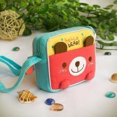 [Hello Bear] Embroidered Applique Swingpack Bag Purse~Shoulder Bag