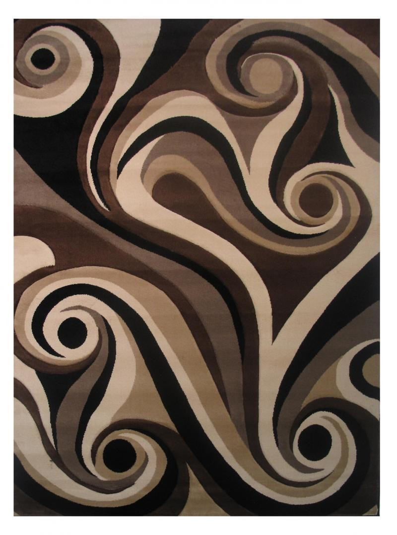 Princess Black Tan and Brown Area Rug 2'x3'3""