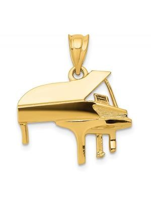 14k Yellow Gold Piano Charm Pendant - 20mm