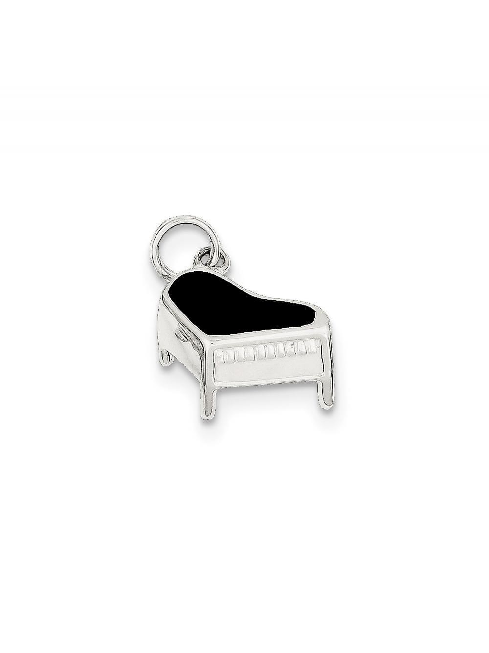 925 Sterling Silver Black Enamel Piano Charm Pendant - 15mm