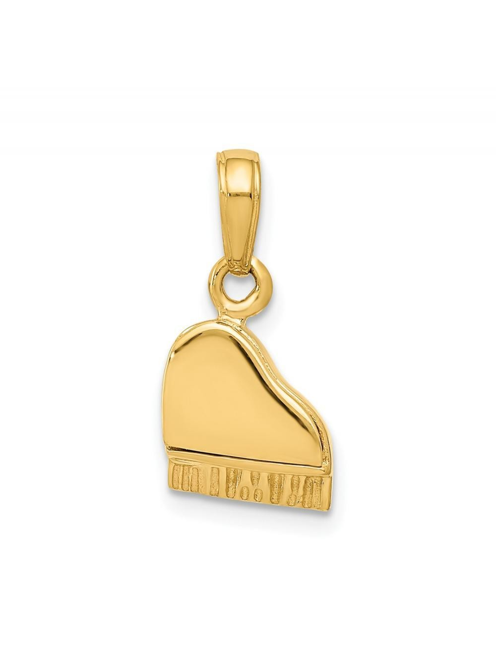 14k Yellow Gold Polished Piano Charm Pendant - 15mm