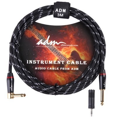 ADM 10FT 3M Straight to Rt Angle Noiseless Electric Guitar Cord