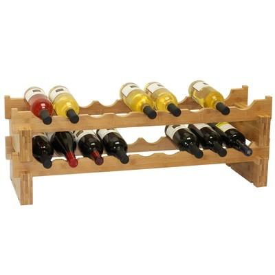 Oceanstar 18-Bottle Stackable Bamboo Wine Rack