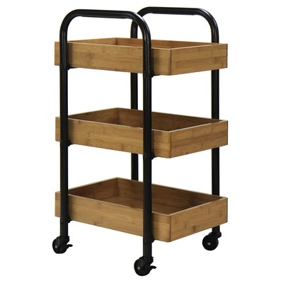 Oceanstar Portable Storage Cart~3 Removable Bamboo Trays