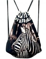 Fashional Item/Animals Series Canvas Drawstring Backpack [Zebra]