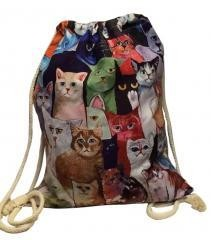 Fashional Item/Lovely Kitty Series Canvas Drawstring Backpack [Meeting Cats]