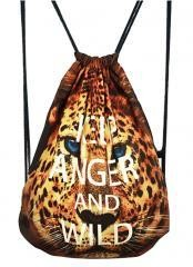 Fashional Item/Animals Series Canvas Drawstring Backpack [Leopard Print]