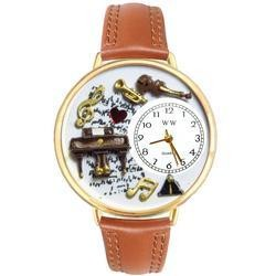 Music Piano Gold Watch large Silver Style