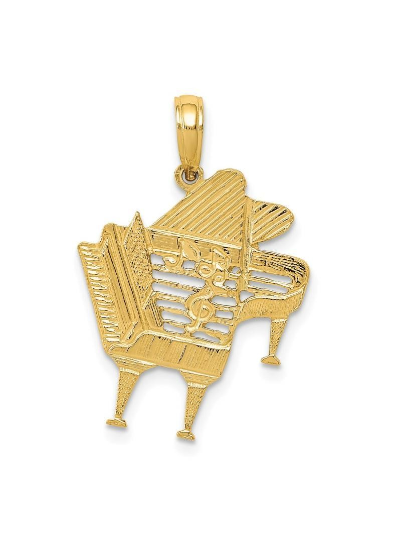 14k Yellow Gold Solid Piano Charm Pendant - 25mm