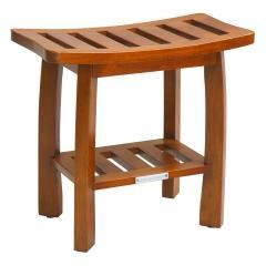 Solid Wood Spa Shower Bench with Storage Shelf, Teak Color Finish