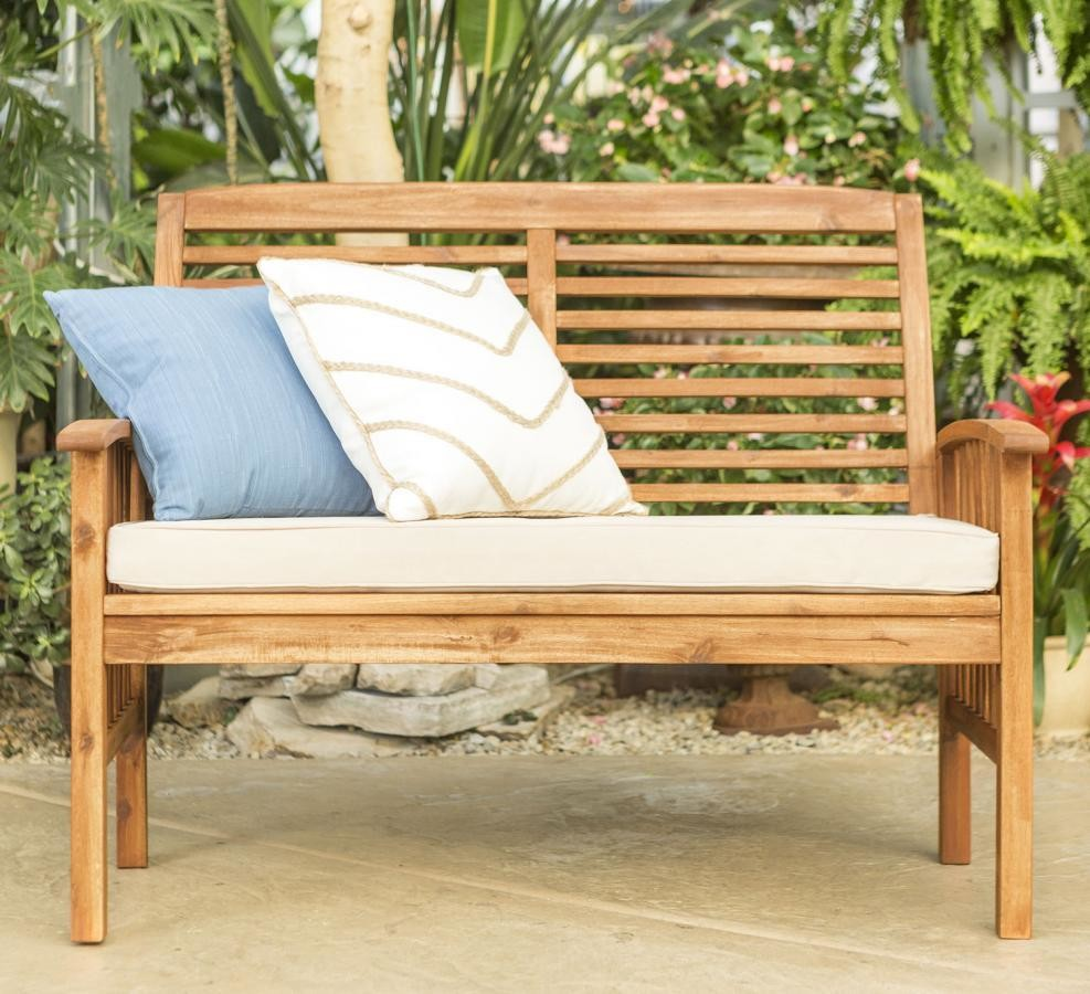 Patio Garden Acacia Wood Patio Backyard Loveseat Bench - Brown