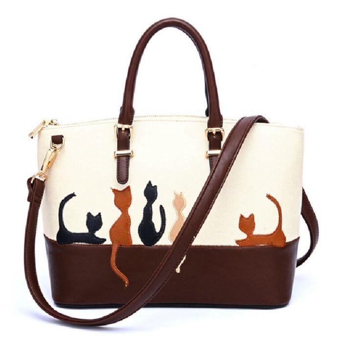 Women Cat Leather Shoulder Bag Cross Body Purse Handbag Messenger