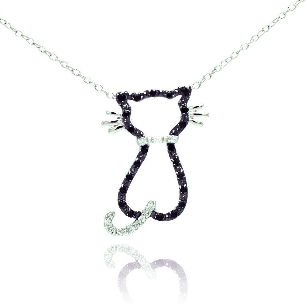 "Sterling Silver Black Cubic Zirconia Cat Pendant Necklace 16"" - 18"" Adjustable"