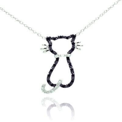 Sterling Silver Black Cubic Zirconia Cat Pendant Necklace 16