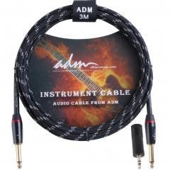 ADM 10FT 3M Straight to Straight Noiseless Musical Instruments Electric Guitar & Bass Cable, Studio Quality Guitars & Bass Amp Cord, Black Tweed Woven Jacket