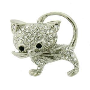 Platinum-Plated Swarovski Crystal Cat Brooch/Pin