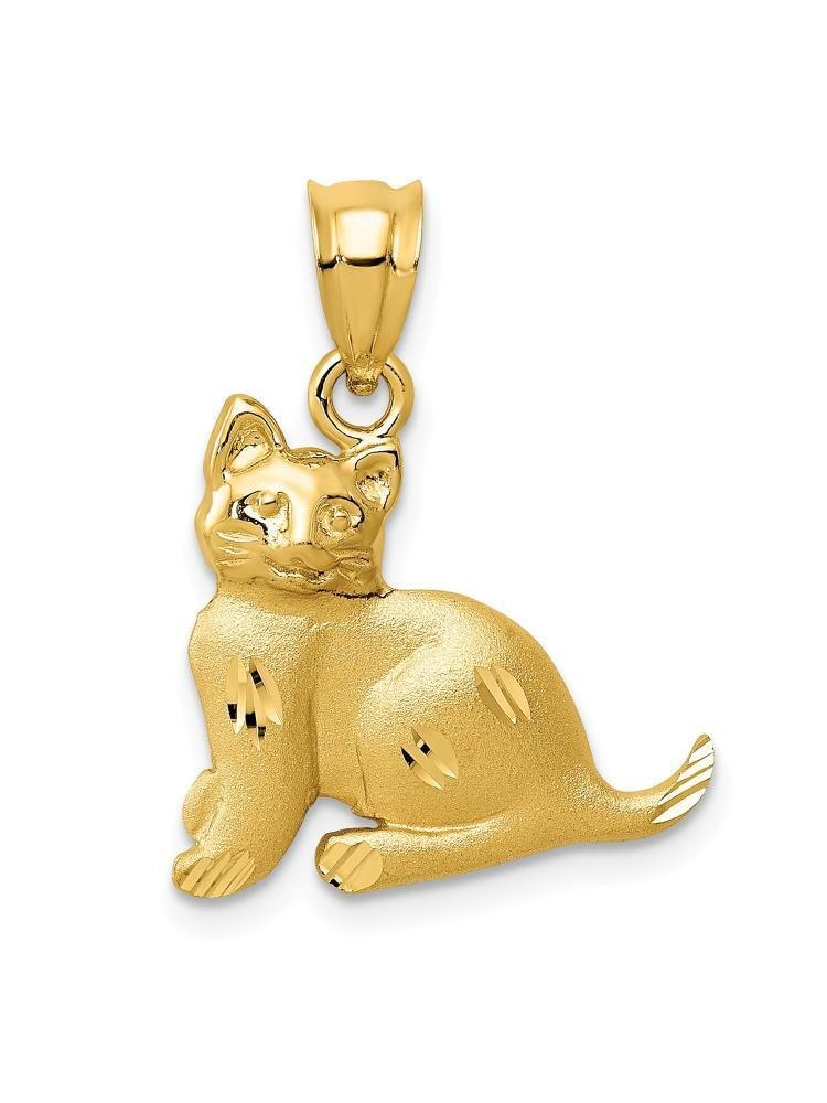 14k Yellow Gold Sitting Cat Charm Pendant - 22mm