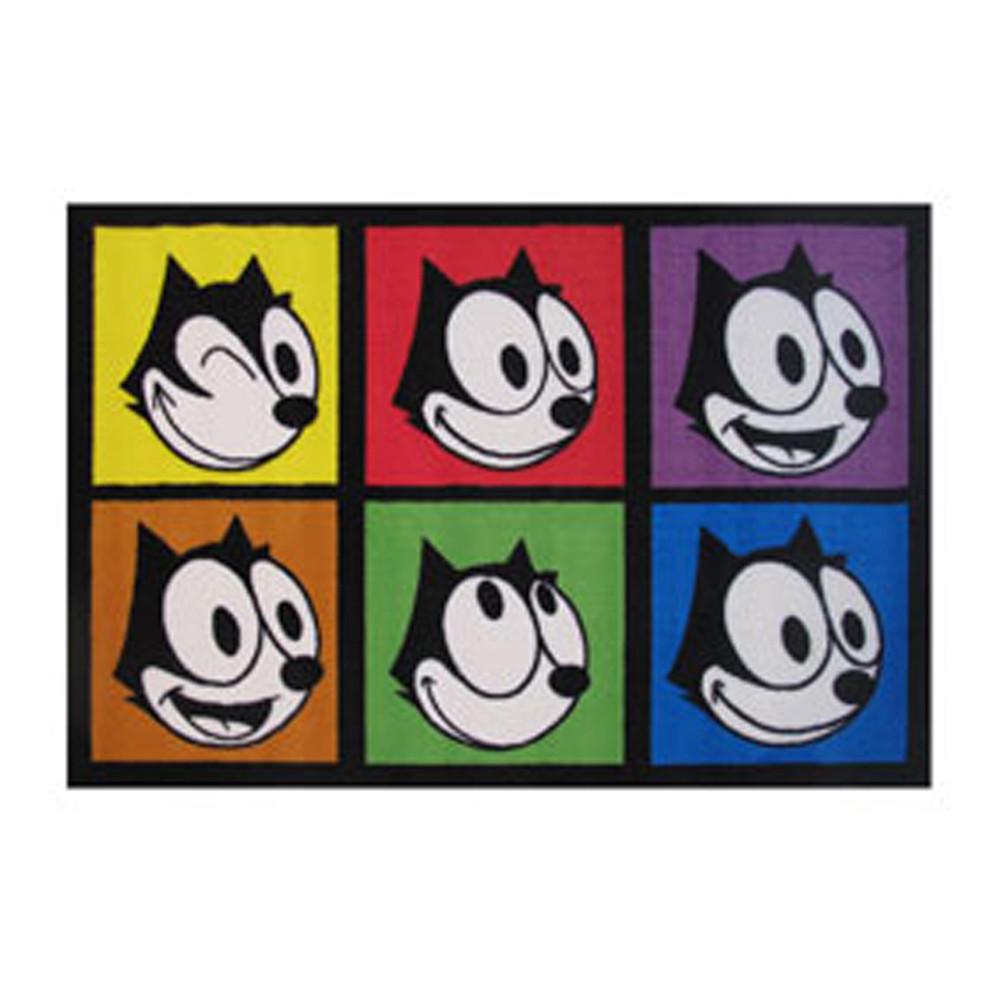 "FELIX THE CAT Kids Home Decorative Area Rug Nylon Felix Portraits -39"" X 58"""
