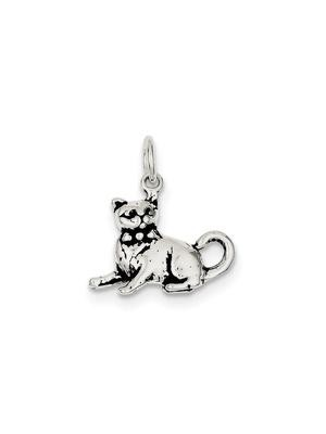 925 Sterling Silver Cat Charm Pendant - 22mm