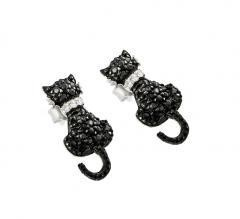 Sterling Silver Black and Silver Rhodium Plated Cat Black and Clear CZ Dangling Stud Earrings