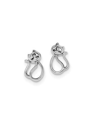 925 Sterling Silver White Synthetic Cubic Zirconia Sitting Cat Stud Earrings