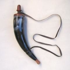 Ancient Style Powder Horn With Long Strap, Black and Brown