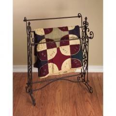 Quilt/Towel Rack With Open-Metal work Design, Brown