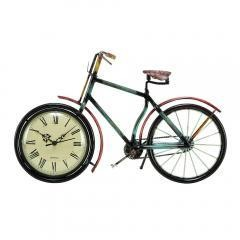 Cycle Shaped Metal Table Clock With Analog Display, Multicolor