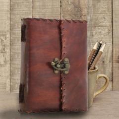 Antique Style Handmade Leather Journal With Lock, Brown