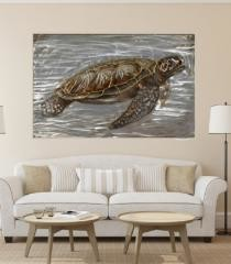 Finely Painted Turtle Wooden Wall Art Decor, Multicolor