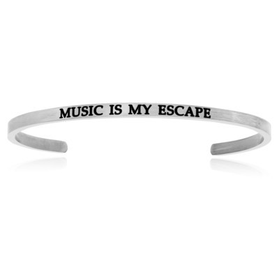 Stainless Steel Music Is My Escape Cuff Bracelet