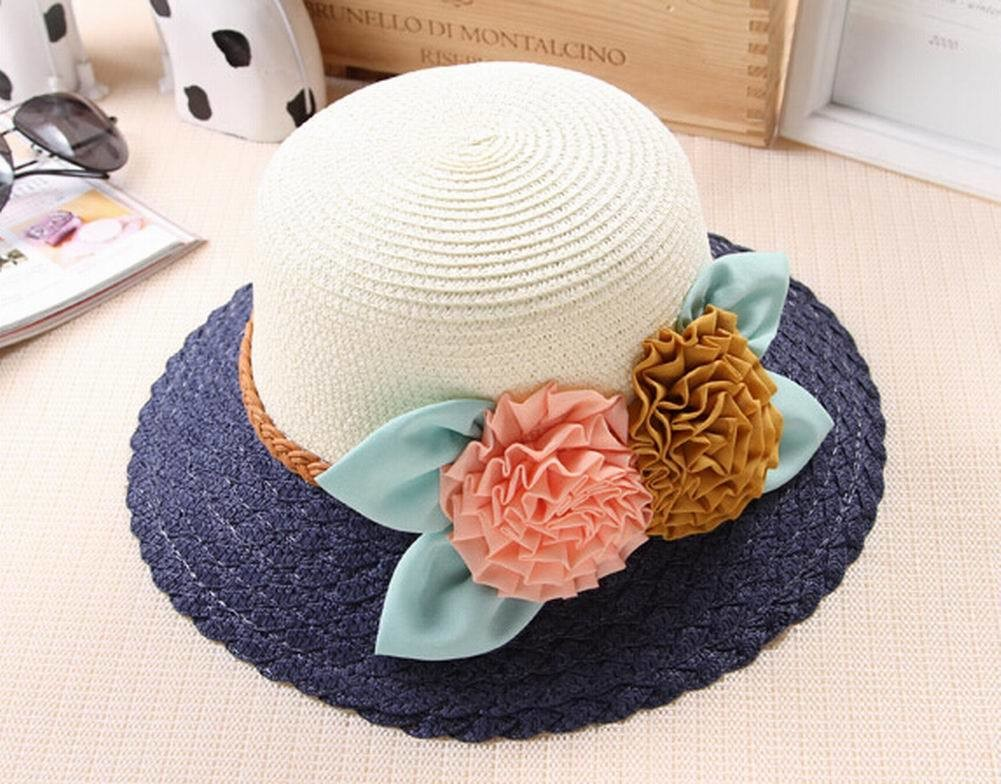 [Navy] Elegant Summer Straw Hat Beach Hat Wide Brim Hat Bucket Hat