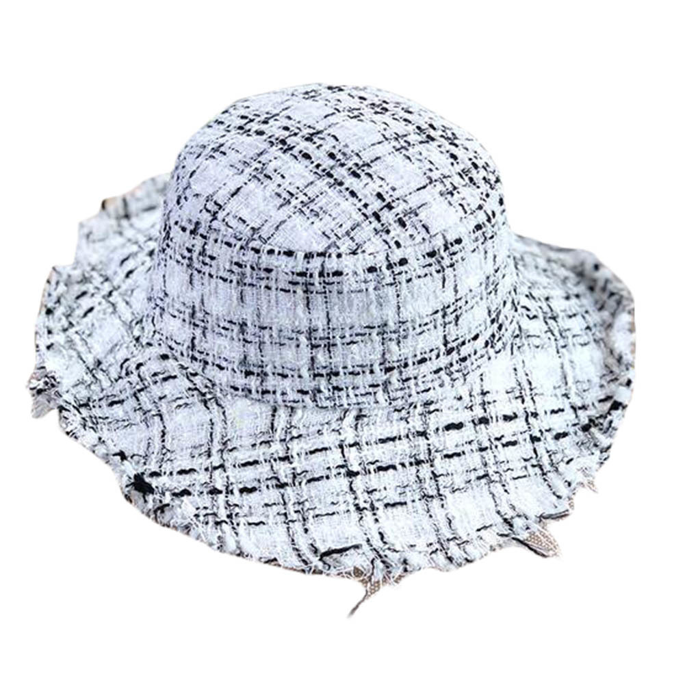 Soft Ruffle Knit Casual Fisherman Hat Female Autumn Winter Basin Cap-White