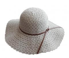 [Flower Gray] Ladie's Straw Sun Beach Hat Foldable for Travel