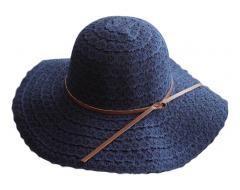 [Flower Navy] Lady Sun Hat Straw Beach Travel Foldable