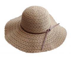 [Flower Khaki] Lady Sun Hat Straw Beach Foldable Travel