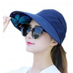 UV Protection Hat Elegant Sunscreen Hat For Women Skin Care-Navy Blue