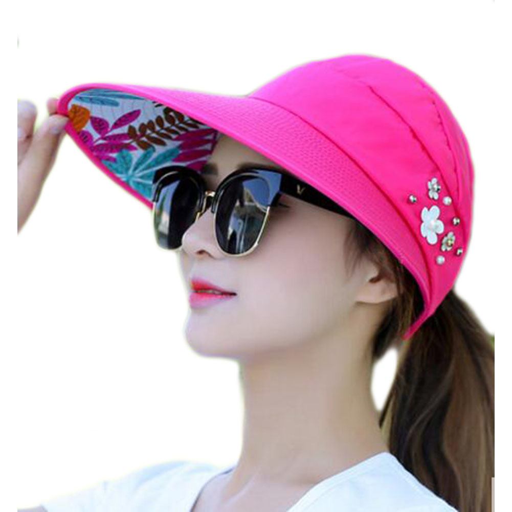 UV Protection Rose Red Sunscreen Hat Roll-up for Travel
