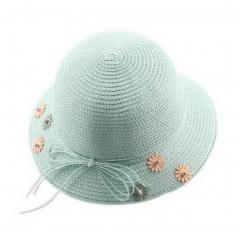 Parent-child Straw Hat Summer Travel Sun Hat Child Flower Beach Hat, Light Green