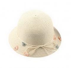 Child Straw Hat Summer Travel Flowers Girl Beach Hat, Beige