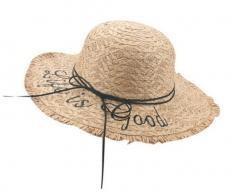 Summer Women's Bold Cursive Embroidered Straw Hat Raffia Straw Edged Hats, Khaki