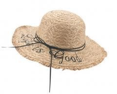 Summer Women's Bold Cursive Embroidered Straw Hat Raffia Straw Edged Hats, Khaki