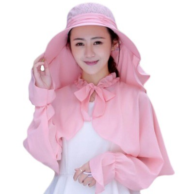 UV Protection Hat Sunscreen Lace Removable Veil Shawl-Pink