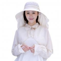 UV Protection Hat Sunscreen Lace Removable Veil Shawl-Beige